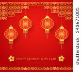 chinese new year decoration on... | Shutterstock .eps vector #243671005