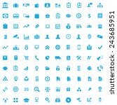 100 bank icons  blue on white... | Shutterstock .eps vector #243685951