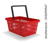 red shopping basket on white... | Shutterstock .eps vector #243690967