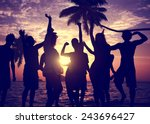 people celebration beach party... | Shutterstock . vector #243696427