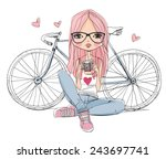 girl with a camera and bicycle | Shutterstock .eps vector #243697741