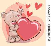 cute teddy bear with heart | Shutterstock .eps vector #243699079