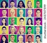 protrait of group diversity... | Shutterstock . vector #243707599