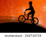 extreme cyclists bicycle riders ... | Shutterstock .eps vector #243710725
