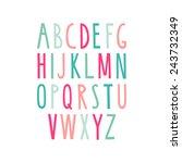 hand drawn alphabet. sans serif ... | Shutterstock .eps vector #243732349