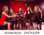 pretty friends drinking... | Shutterstock . vector #243741559