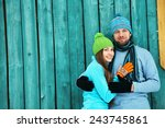 young happy couple in love...   Shutterstock . vector #243745861