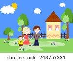 happy family near the new...   Shutterstock . vector #243759331