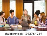 smiling students and teacher in ... | Shutterstock . vector #243764269
