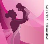 happy mother raising newborn... | Shutterstock .eps vector #243764491