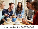 group of friends in caf      ... | Shutterstock . vector #243774547