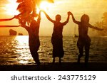 people celebration beach party... | Shutterstock . vector #243775129
