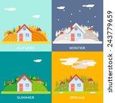 seasons change autumn winter...   Shutterstock .eps vector #243779659
