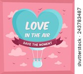 valentines poster with hot air...   Shutterstock .eps vector #243783487