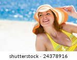 portrait of happy woman in hat... | Shutterstock . vector #24378916