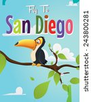 Fly To San Diego Travel Poster.