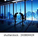 corporate businessmen greeting... | Shutterstock . vector #243804424