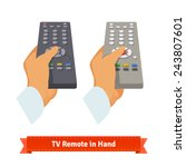 retro remote control in hand.... | Shutterstock .eps vector #243807601
