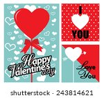 happy valentines day cards with ... | Shutterstock .eps vector #243814621