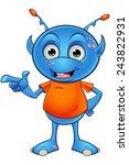 light blue alien character | Shutterstock .eps vector #243822931