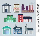 government building icons set.... | Shutterstock .eps vector #243826249