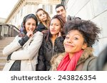 Stock photo group of attractive young women of different ethnics taking a selfie students having fun best 243826354
