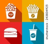 vector fast food flat icon set. ... | Shutterstock .eps vector #243834925