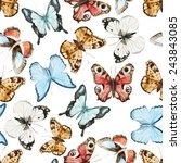 Stock vector watercolor butterfly wallpaper 243843085