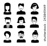 black and white people icons | Shutterstock .eps vector #243845449