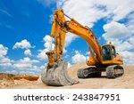 Yellow Excavator On A...