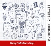 set of hand drawn valentine's... | Shutterstock .eps vector #243851155