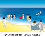 beach illustration with people | Shutterstock .eps vector #243873361