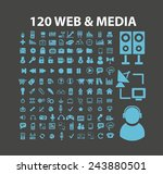 120 web  media icons  signs ...
