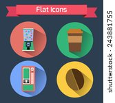 flat icons vending machines and ... | Shutterstock .eps vector #243881755