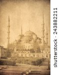 vintage image of blue mosque ... | Shutterstock . vector #243882211