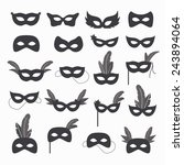 Set Of Isolated Carnival Masks...