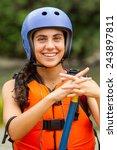 White Rafting Water Safety Girl ...