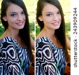 portrait of a beautiful girl... | Shutterstock . vector #243909244