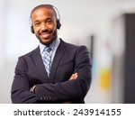 young cool black man with phones | Shutterstock . vector #243914155