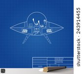 blueprint drawing flying saucer.... | Shutterstock .eps vector #243914455