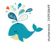 cute whale and love confession. | Shutterstock .eps vector #243918649