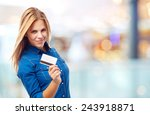 young cool woman with credit...   Shutterstock . vector #243918871