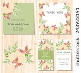set of invitations with floral... | Shutterstock .eps vector #243923191
