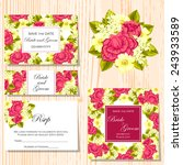 set of invitations with floral... | Shutterstock . vector #243933589