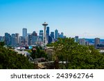 Seattle skyline with Mount Rainier in the background - stock photo