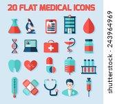 medical flat vector icons set.... | Shutterstock .eps vector #243964969