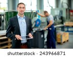 young boss with worker in the... | Shutterstock . vector #243966871