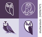 Stock vector set of owl logos and emblems design elements for schools and educational signs 243967471