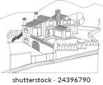 luxuri house outline | Shutterstock .eps vector #24396790
