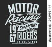 vintage motor racing typography ... | Shutterstock .eps vector #243995449